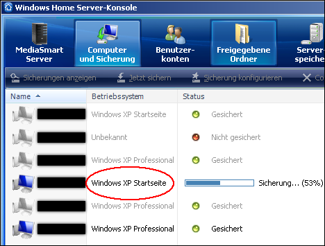 Windows XP Home Edition = Windows XP Startseite